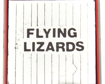 Vintage 80s Flying Lizards Mirror Pinback Button Badge Pin