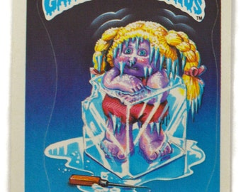 Vintage 80s Garbage Pail Kids Frigid Bridget 32a Series 1 Glossy Sticker Trading Card