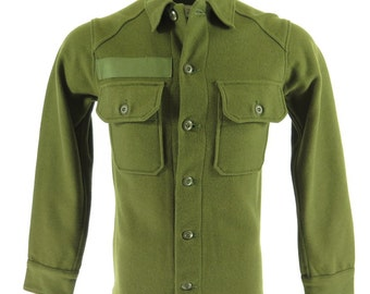 Vintage 60s USA Wool Olive Green Military Shirt Mens XS Deadstock [H23W_1-7]