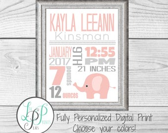 Elephant Nursery Print, Elephant Birth Stats, Birth Announcement, Safari Theme Nursery, Personalized Nursery Art, Personalized Baby Gift