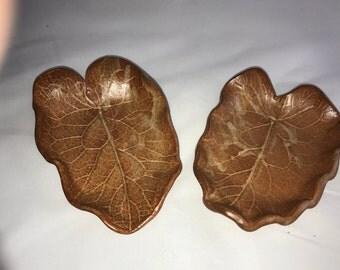 Leaf impressed small platters