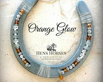 Horseshoe | Horse Décor | Horseshoe Décor | Personalized Horseshoe | Orange Glow Swarovski Crystal Horseshoe | Lucky Horseshoe | Two Names