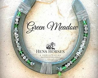 Horseshoe | Horse Décor | Horseshoe Décor | Personalized Horseshoe | Green Meadow Swarovski Crystal Horseshoe | Lucky Horseshoe | Two Names
