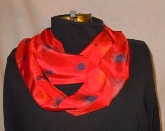Hand painted silk scarf; red, blue, yellow. One of a kind #S81