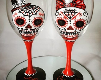 Dia De Los Muertos, Day of the Dead, Sugar Skull  Wine Glasses