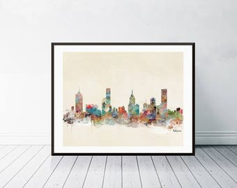 melbourne australia melbourne city skylinecolorful modern pop art skylines gallery edition prints - Home Decor Melbourne