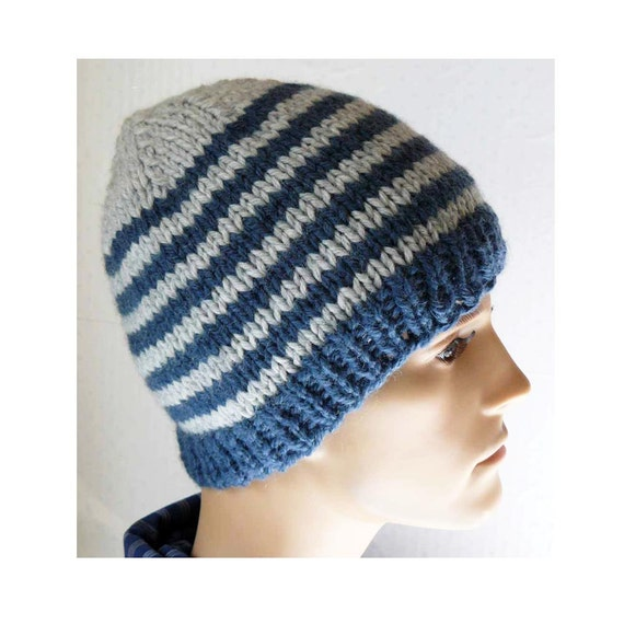 Knitting PATTERN, Knit Beanie Pattern, Mens Knit Hats Patterns, Knit Mens Bea...