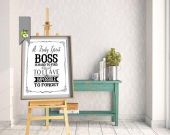 Boss appreciation day, Boss week, boss card, boss gift, thank you boss, mentor, leader, Typographic, printable, retirement leaving gift