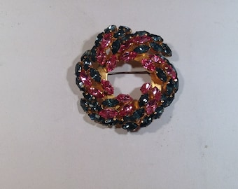 Pink and Blue Brooch