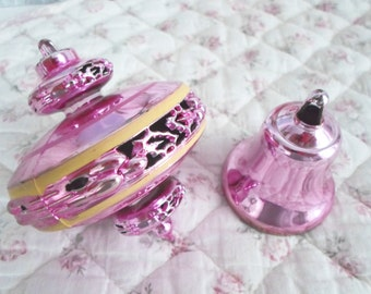 2 Pink Unbreakable Christmas Ornaments UFO Top and Bell