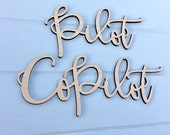 Pilot & Co Pilot Chair Signs, Laser Cut Wedding Chair Backs Decorations Travel Adventure Theme by Ngo Creations