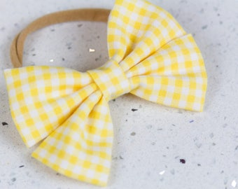 Yellow Gingham Bow & Bow tie