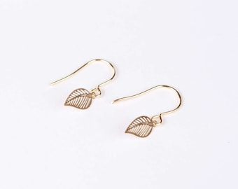 Earrings Leaf Gold Ear Rings  Dangly Earrings  Leaves
