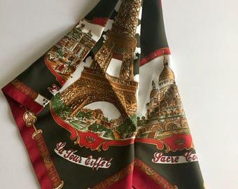 """Vintage Roger L. Paris Souvenir Scarf- Parisian Landmarks- Eiffel Tower, Notre Dame, Louvre, Sacre Coeur, Versailles- Dark Red, Green- 30"""""""