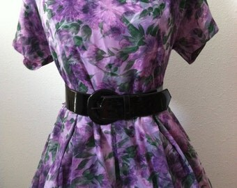 50s  Purple Floral Party Dress XL