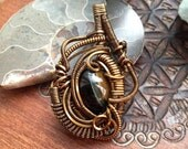 Tiger Iron Seedling Amulet - Non tarnish Copper Wire Wrapped Pendant