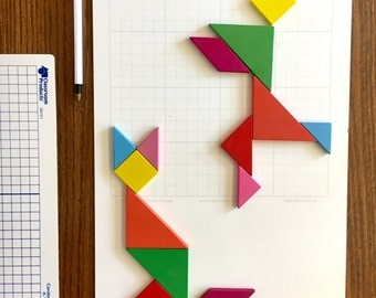 "Pictoral Tangram of Fox and Person - any Pose you wish Free Shipping This is a Picture on on a 16"" x 11"" Dry Erase Board"