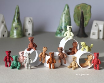 Crochet Bear Dollhouse miniature toy 1 inch doll CHOOSE ONE tiny crochet art doll micro miniature amigurumi doll for 1/12 doll collectable