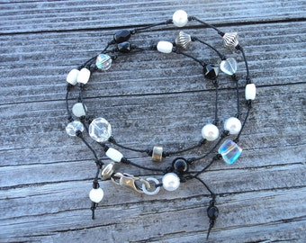 Handmade Knotted BRACELET & NECKLACE COMBO Black White Silver Tone