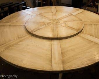 6 foot round wedge table, reclaimed red oak, bespoke base
