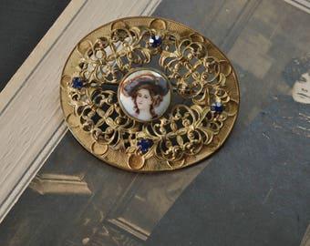 Antique Portrait Sash Pin
