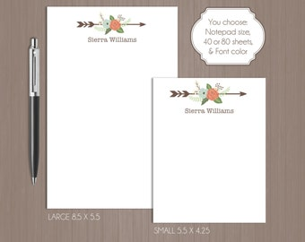 Floral Arrow Notepad . Tribal Notepad . Personalized Note Pad .  Large Notepad . Small Notepad . Boutique . Custom Notepad . Teacher Gift