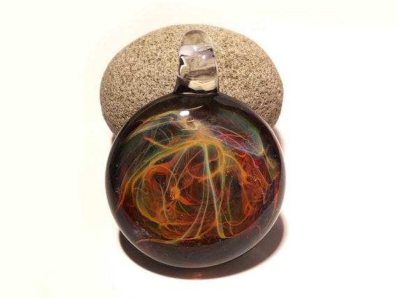 Orange Star Burst Pendant - Glass Jewelry - Universe Filament Pattern - Hand Blown - Glass Pendant - Made with Pure Silver - Free Shipping!