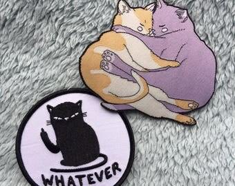 Cat patch duo! Whatever cat patch - cozy cat patch - Lovestruck Prints