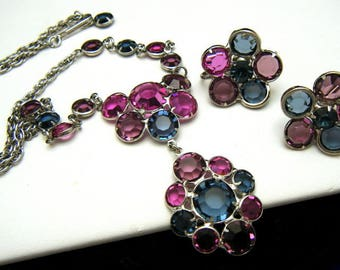 Vintage Lavalier Necklace Earring Bezel Set Crystal Demi Bold Colors