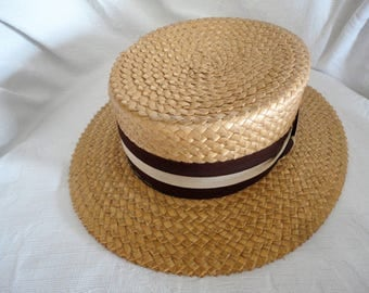 Men's Panama Straw Boaters Hat Meadowbrook Skimmer Hat Size 7 Vintage Men's Accessory