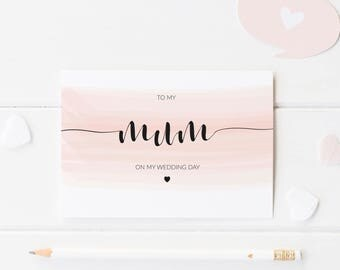 Pink Watercolour To My Mum On My Wedding Day Card, Personalised