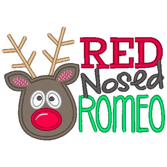 Red Nosed Romeo Embroidered Shirt - Christmas Shirt - Girls Christmas Shirt - Boys Christmas Shirt