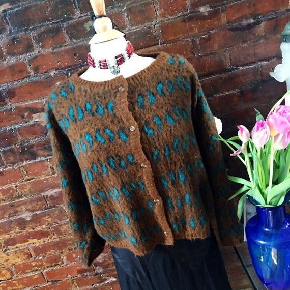 Vintage Italian Woodward & Lothrop Rusty Orange /Teal paisley  Mohair like Acrylic 80's trendy Sweater Size L MINT condition