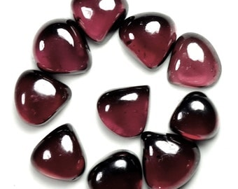 10 Pieces Lot AAA Quality Natural Garnet Heart Shape Cabochon Flatback Gemstone