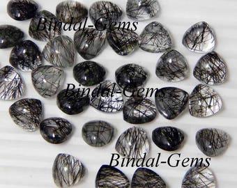 10 Pieces Lot Fine Quality Black Rutile Trillion Shape Smooth Polished Gemstone Cabochon
