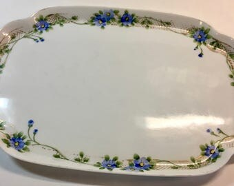 Pretty Vintage Hand-Painted Nippon Porcelain China Tray Platter Blue Flowers with Gold Detail