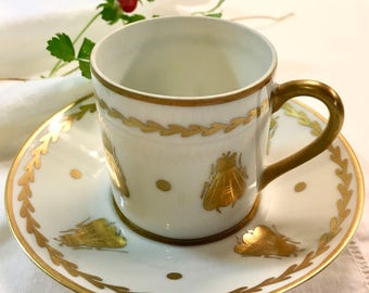 Lovely Vintage French Limoges Demitasse Teacup and Saucer Golden Bees Napoleon and Josephine