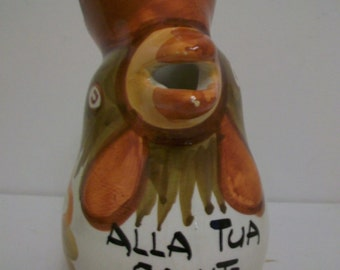 Vintage, Italian Ballano Wine Jug, Kitsch, Rooster, Functional, Allo Tua Salute, To Your Health