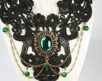 black lace necklace with emerald glass cabochon