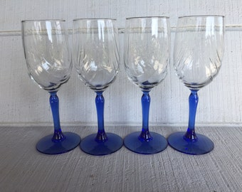 Cobalt blue wine glass vintage lenox