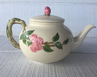 vintage Franciscan Desert Rose Dishes Pink Rose Tea Pot, vintage Franciscan dinnerware made in the USA California, pink floral china tea pot