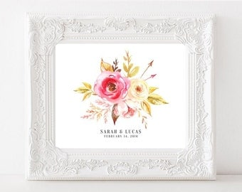 Personalized Wedding date print, Anniversary sign, Custom Couple Watercolor Flowers Printable Wedding Gift for Parents, DIGITAL FILES