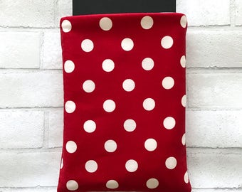 Book Sleeve | Red Polka Dot | Book Pocket Protector Pouch | Book Lover Gift Paperback Hardback Cover Bookworm