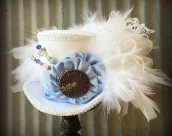 Mini top Hat, Baby Blue and White Mini Top Hat, White Rabbit, Alice in Wonderland Hat, Mad Hatter Hat, Steampunk Mini Top Hat, Kentucky