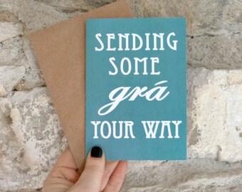 Irish gift card, Grá card, love cards, made in Ireland, thank you gift, Gaeilge, thinking of you card, Irish language, Irish friendship card