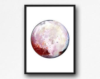 Planet Pluto Print Watercolor Planet Solar System Space Art Print Wall Art Astronomy Science Gift Wall Decor