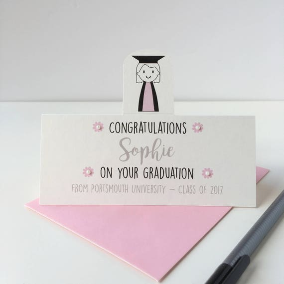 Personalised girl's graduation card - Graduation card - congratuations on your graduation