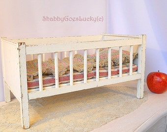 Wooden doll bed vintage1950s shabby white doll crib, doll cot with mattress + bedding, 15 by 8 + inches large, cottage chic doll furniture