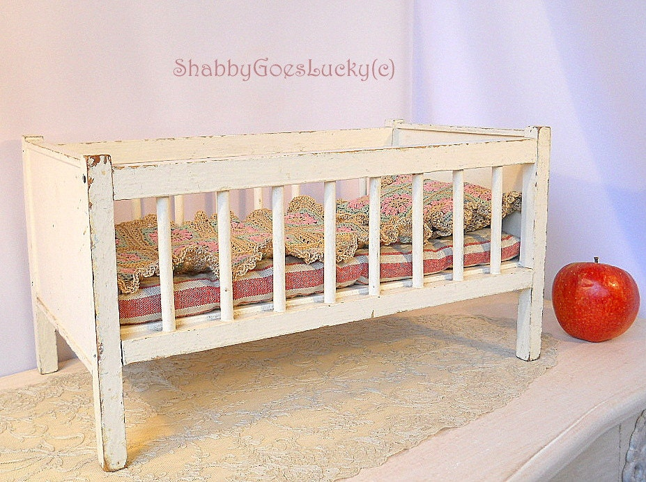 Wooden Doll Bed Vintage1950s Shabby White Doll Crib Doll Cot