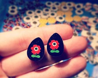 Wooden drills Fleur vintage Flower Earrings